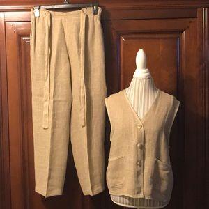 Vintage 100% Linen two piece vest and pants set